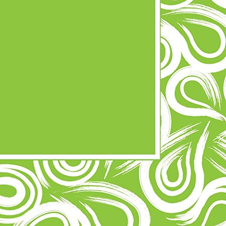 Creative Converting Coordinates Collection 16 Count Lunch Napkins, Fresh Lime - Swirl Lunch