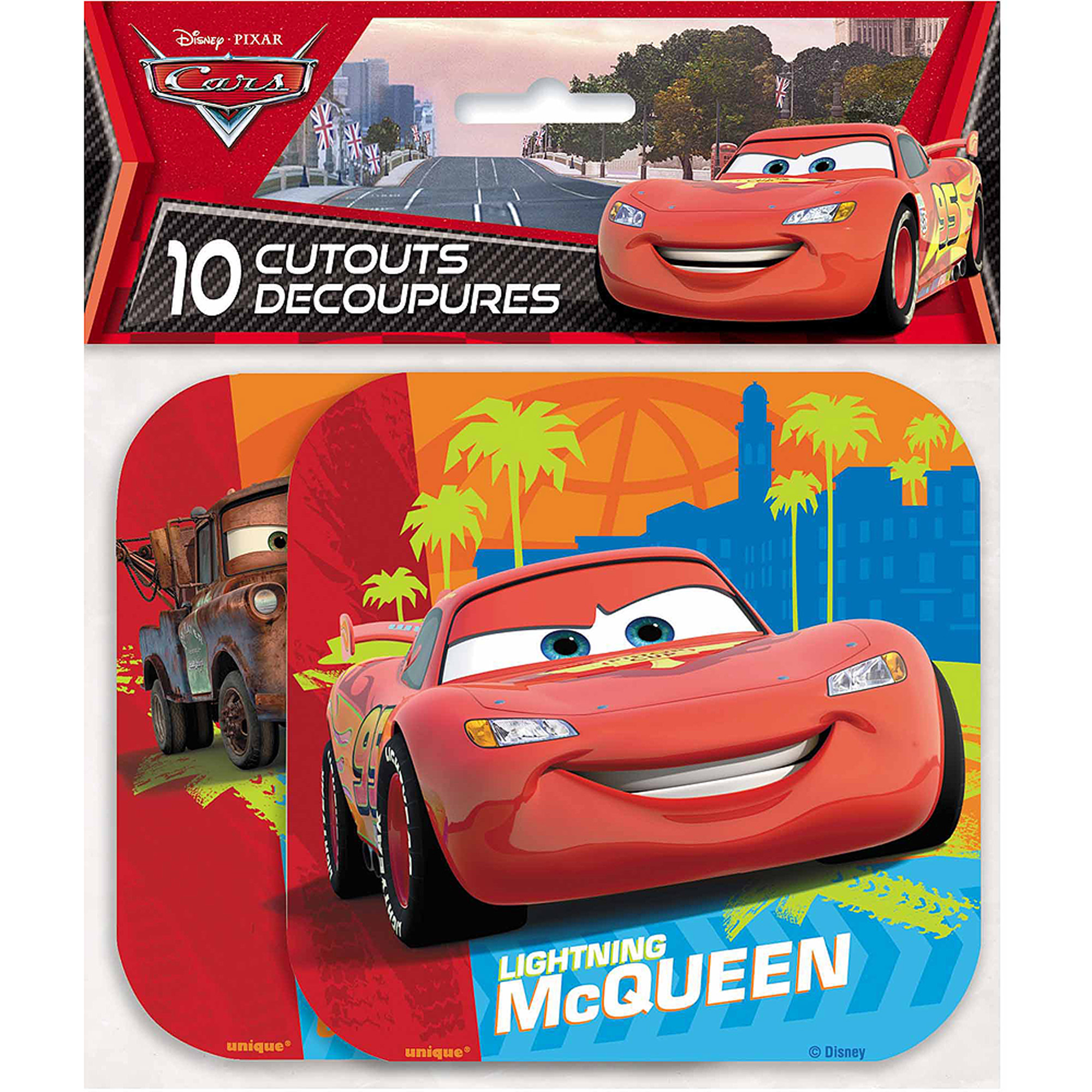 Paper Cut Out Disney Cars Decorations, 10ct