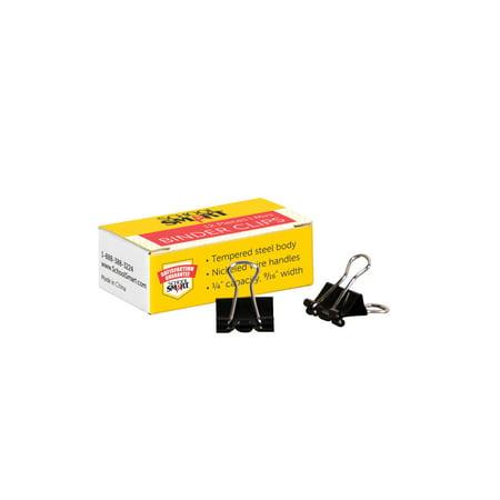 School Smart Binder Clip, 9/16 in W, Mini, 1/4 in Capacity, Tempered Steel/Nickel Wire, Pack of