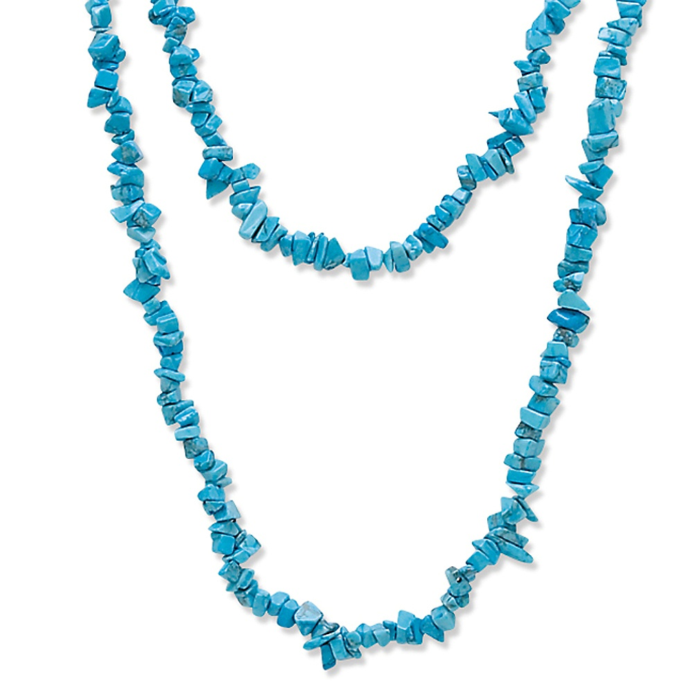 Nugget-Cut Turquoise Strand Necklace 54""