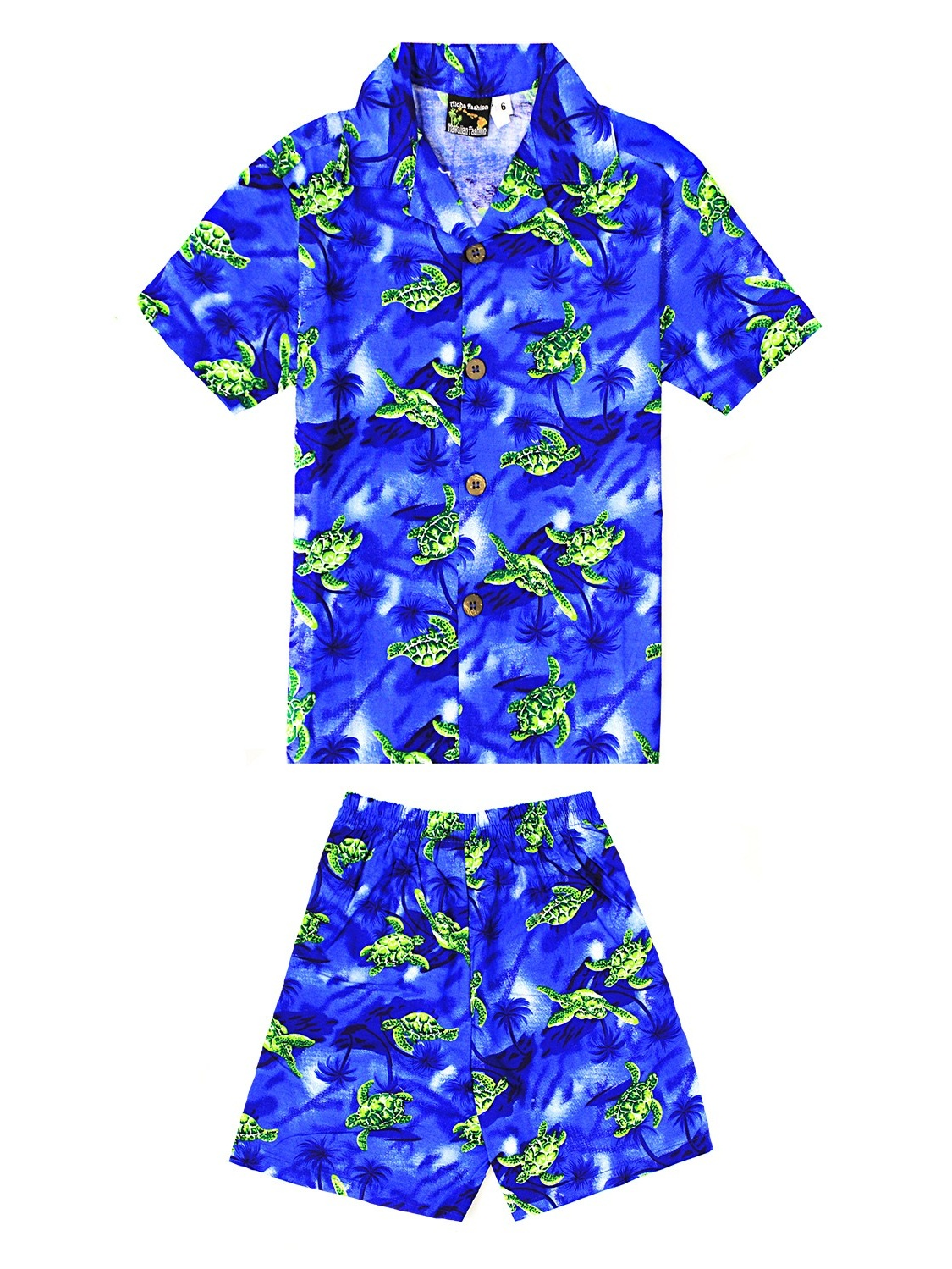 Boy Hawaiian Aloha Luau Shirt and Shorts 2 Piece Cabana Set in Blue with Green Turtles 4