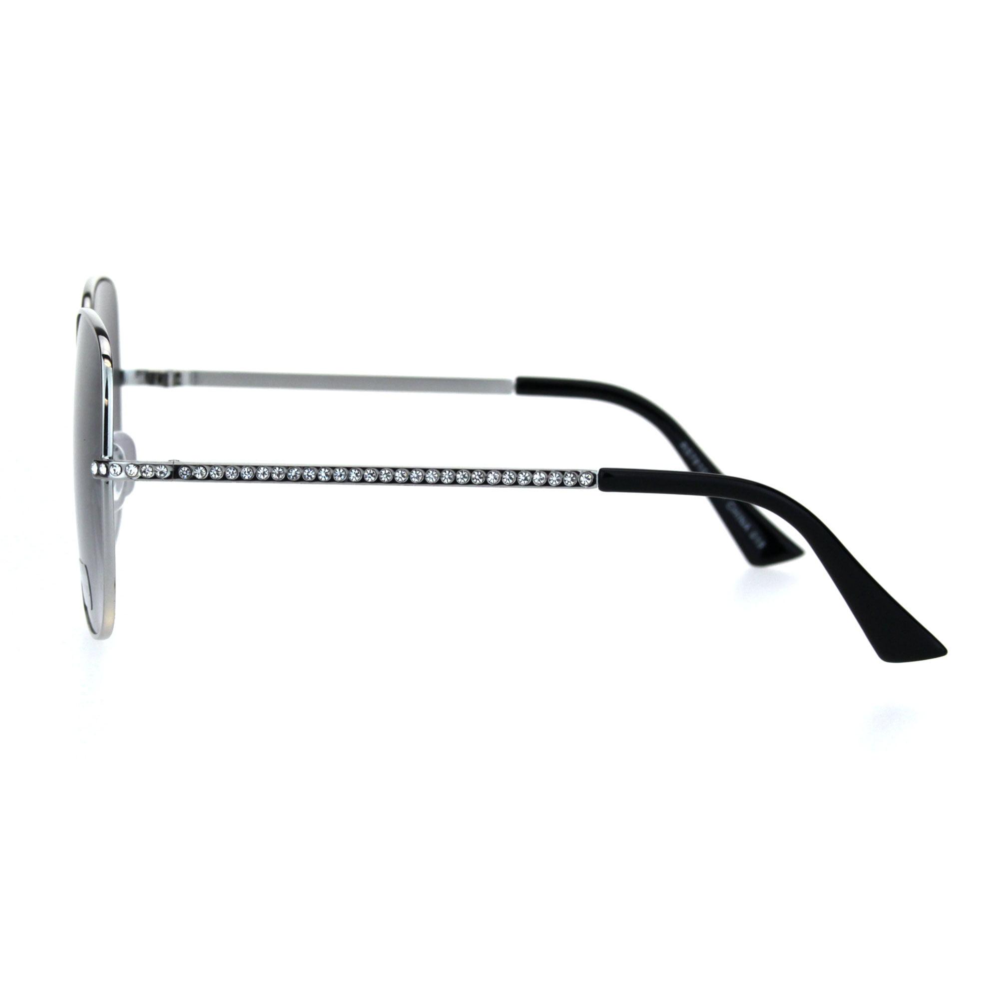 00c3ae137f01 SA106 - Womens 90s Oversize Metal Rim Rectangle Bling Rhinestone Sunglasses  Silver Black Smoke - Walmart.com
