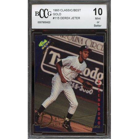 1993 Classicbest Gold 115 Derek Jeter New York Yankees Rookie Card Bgs Bccg 10