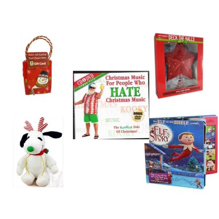 Christmas Fun Gift Bundle [5 Piece] - Musical Gift Card Holder Snowman -  Deck The Halls Red Star Tree Topper 11 5
