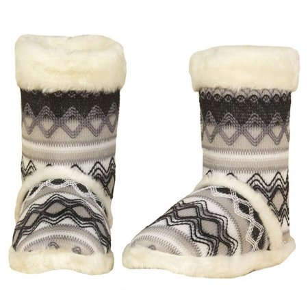 Blazin Roxx 5712405-XL Ladies Knit Print Boot Slipper, White - Extra Large Cable Knit Slipper Boots