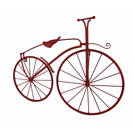 Red Metal Vintage Finish High Wheel Bicycle Wall Hanging