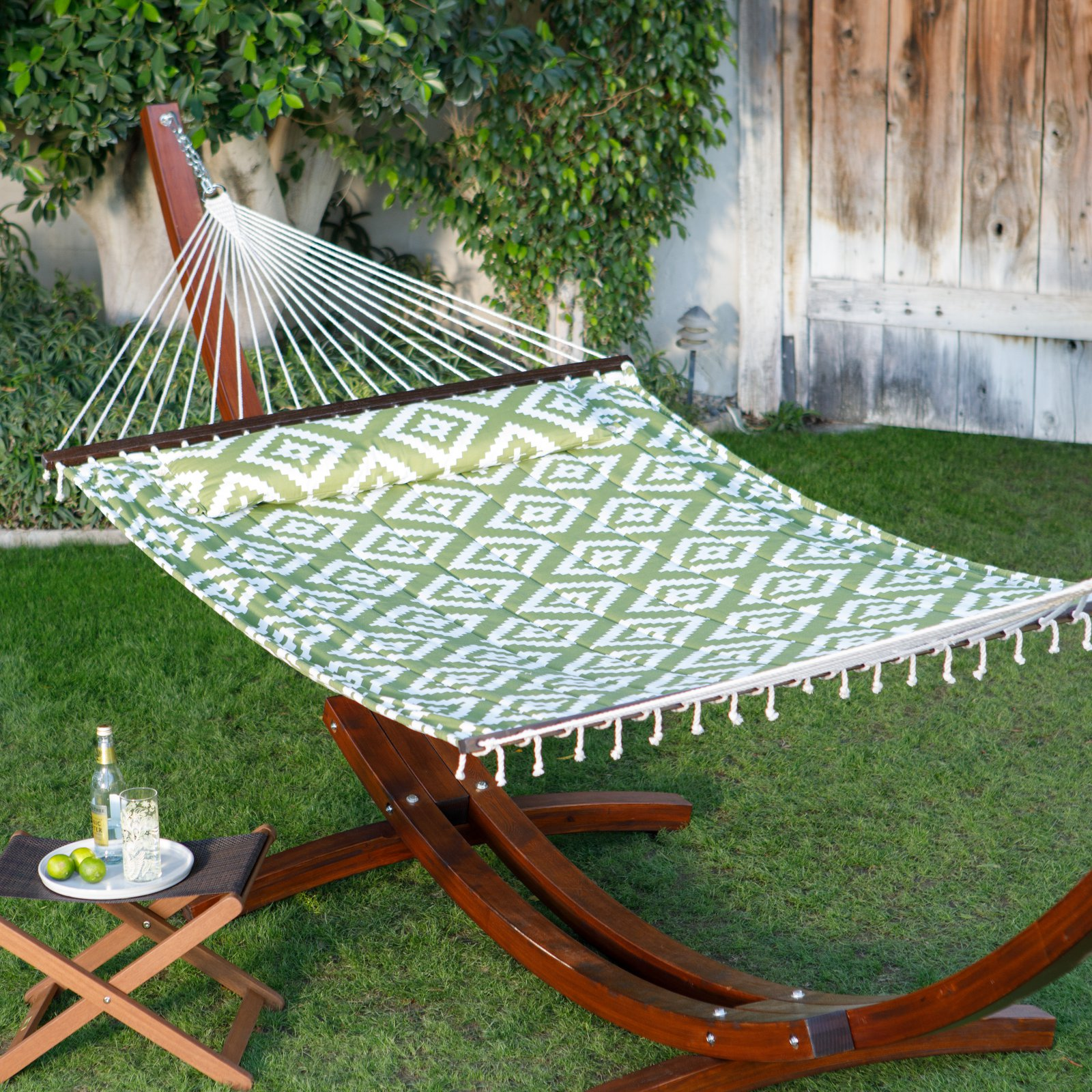 Coral Coast 15 ft. Geo Diamonds Quilted Hammock with Russian Pine Wood Arc Stand