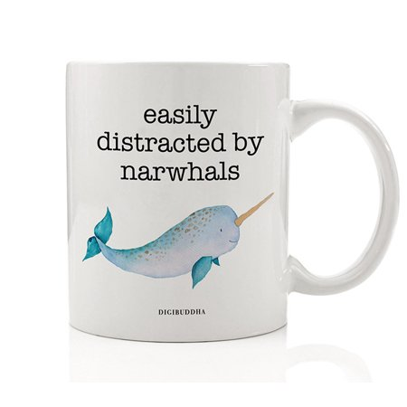 Under The Sea Quinceanera Ideas (EASILY DISTRACTED BY NARWHALS Coffee Mug Gift Idea Magical Single Tusk Ocean Whale Fish Horned Sea Unicorn Funny Elf Movie Present for Film Buff Friend Coworker 11oz Ceramic Tea Cup)
