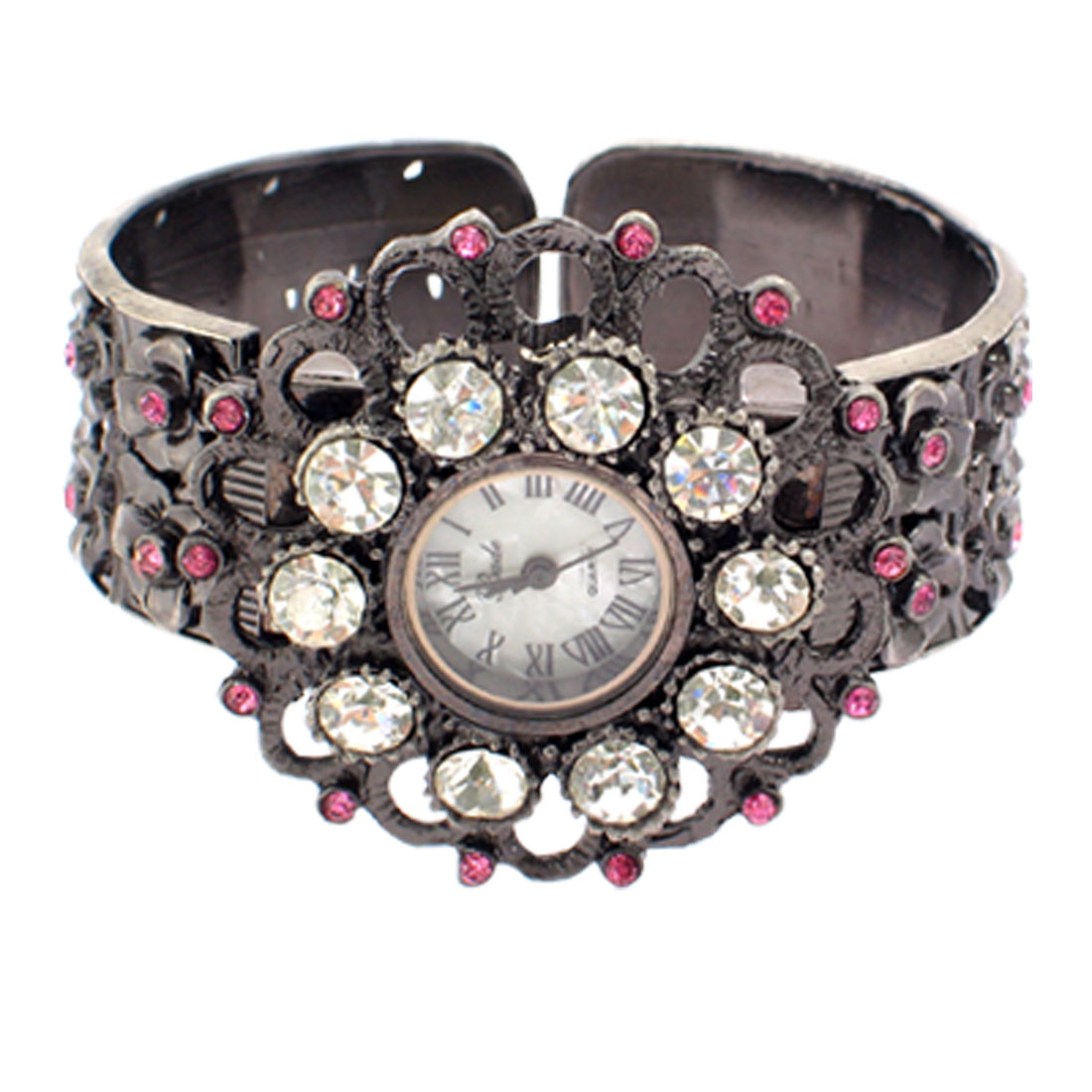 Clear Pink Watch Crystal Beads Sunflower Shape Sooty Eoasj