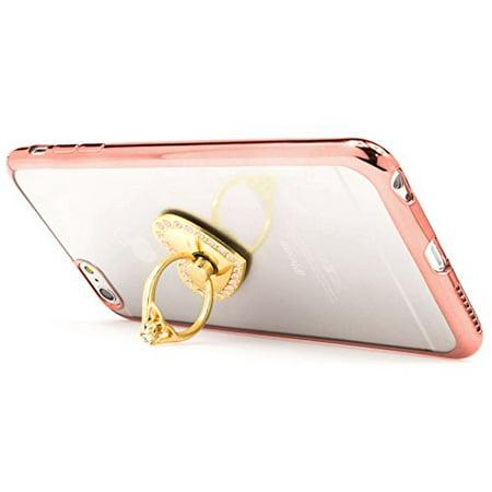 Coque iPhone 6 Plus / 6s Plus, Bastex Ultra Thin Clear Luxury TPU Housse de protection en or rose avec support de bague en diamant rose coeur amovible ...
