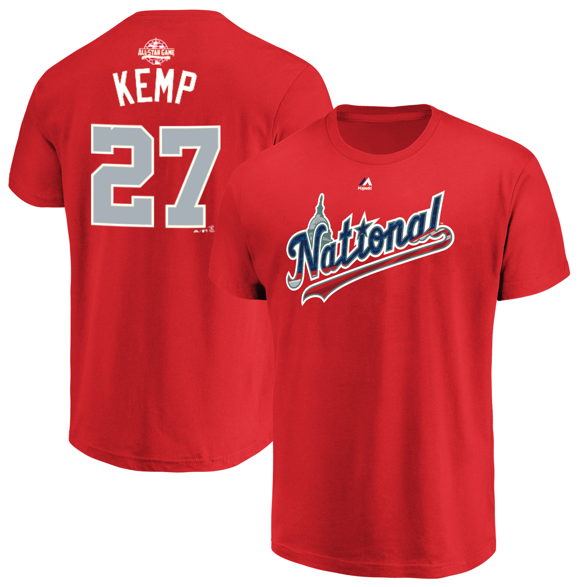 Matt Kemp National League Majestic 2018 MLB All-Star Game Name & Number T-Shirt - Red