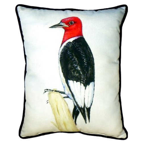 Betsy Drake Interiors Redheaded Woodpecker 24'' Indoor/Outdoor Lumbar Pillow