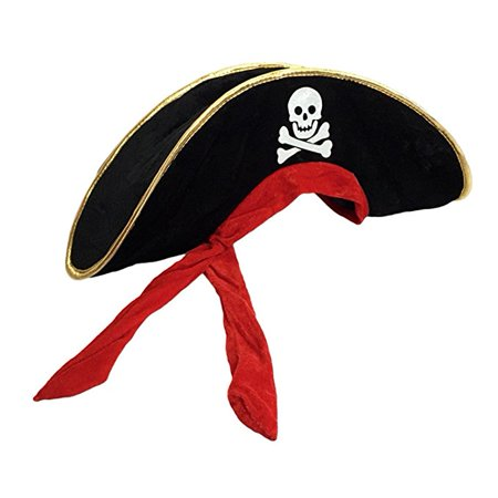 Kids Boys Girls Pirate Halloween Costume Felt Hat with Skull and Crossbones Print with an attached red headband.