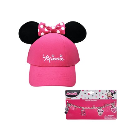 Disney Minnie Mouse Pink Hat with Ears & Charm Bracelet (Big Girls)