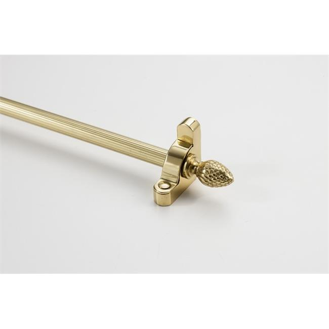 Zoroufy 01501-03516 72 in. Heritage Solid Stair Rod Set Regular Brackets Pineapple Finial in Polished Brass by Zoroufy
