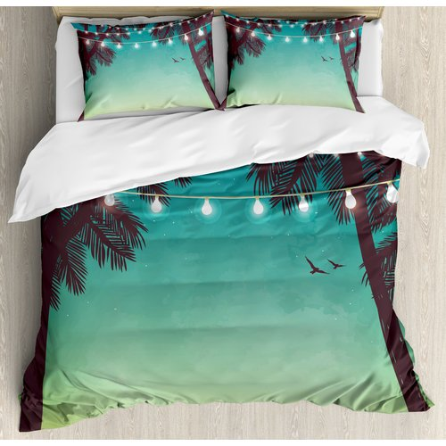 Ambesonne Apartment Night Time Beach Sunset with Little Lantern and Island Palm Trees Art Print Duvet Cover Set