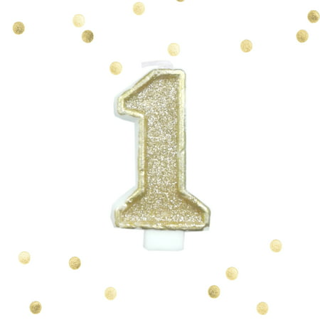 Light Gold Glitter 1st Birthday Candle Number 1 One Smash Cake - Birthday Cake 1 Candle