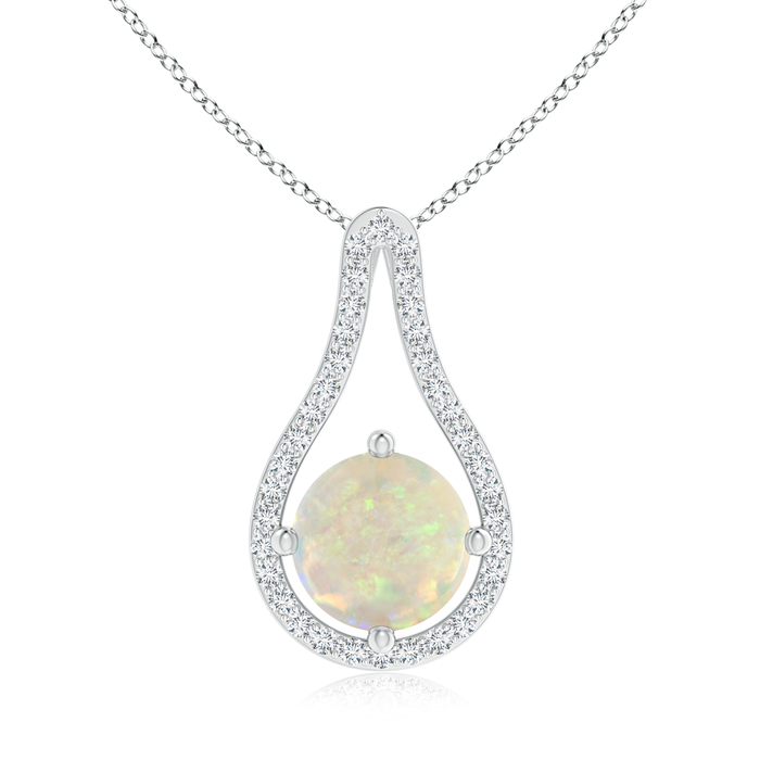 Mother's Day Jewelry Necklace Floating Round Opal and Diamond Loop Pendant in 950 Platinum (8mm Opal) SP1032OPD-PT-AAA-8 by Angara.com
