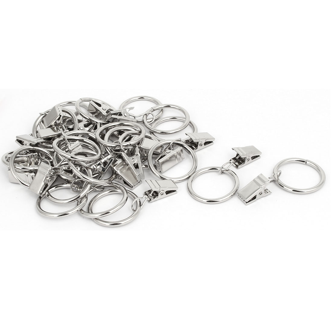 Metal Drapes Curtain Clip Ring Hanging Hooks Silver Tone 1