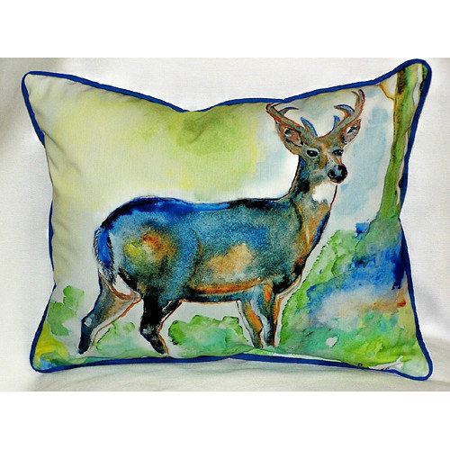 Betsy Drake Interiors Lodge Deer Indoor/Outdoor Lumbar Pillow