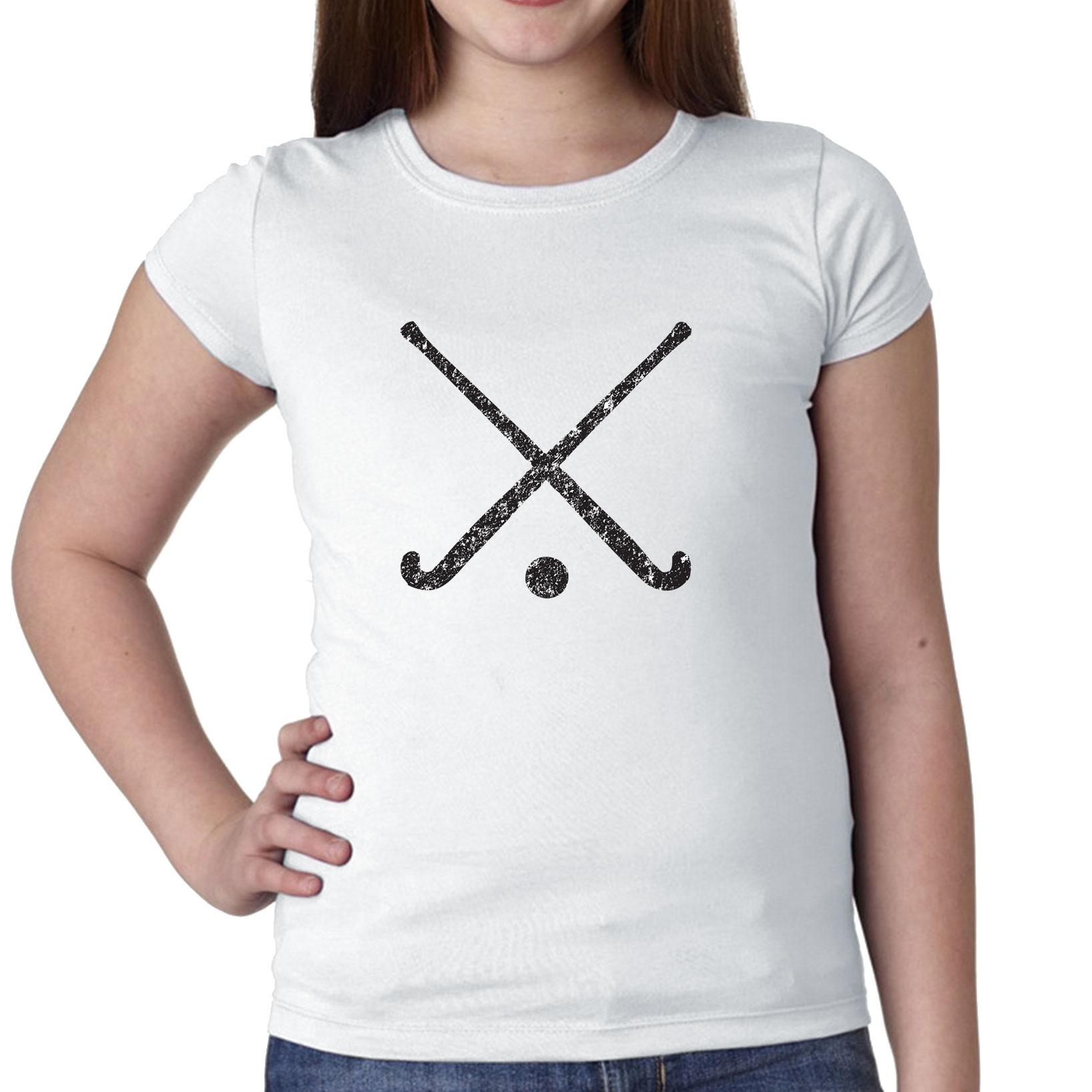 Field Hockey Sticks Crossed With Ball Graphic Silhouette Girl's Cotton Youth T-Shirt by Hollywood Thread