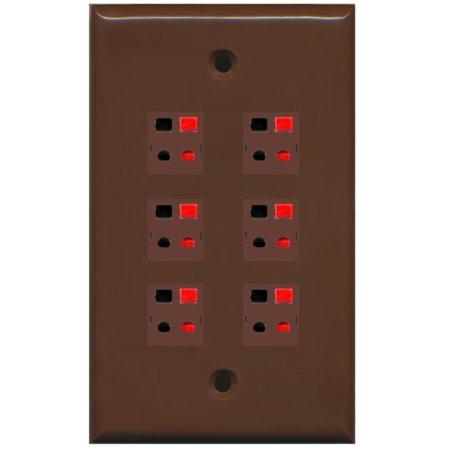 RiteAV 6 Port Speaker Jack Single Gang Wall Plate for Home Theater - Brown ()