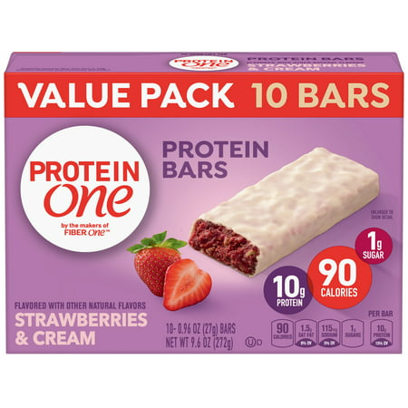Protein One 90 Calorie Strawberries & Cream Bars 10 Count, 9.6 oz (Bar Strawberry Nut)