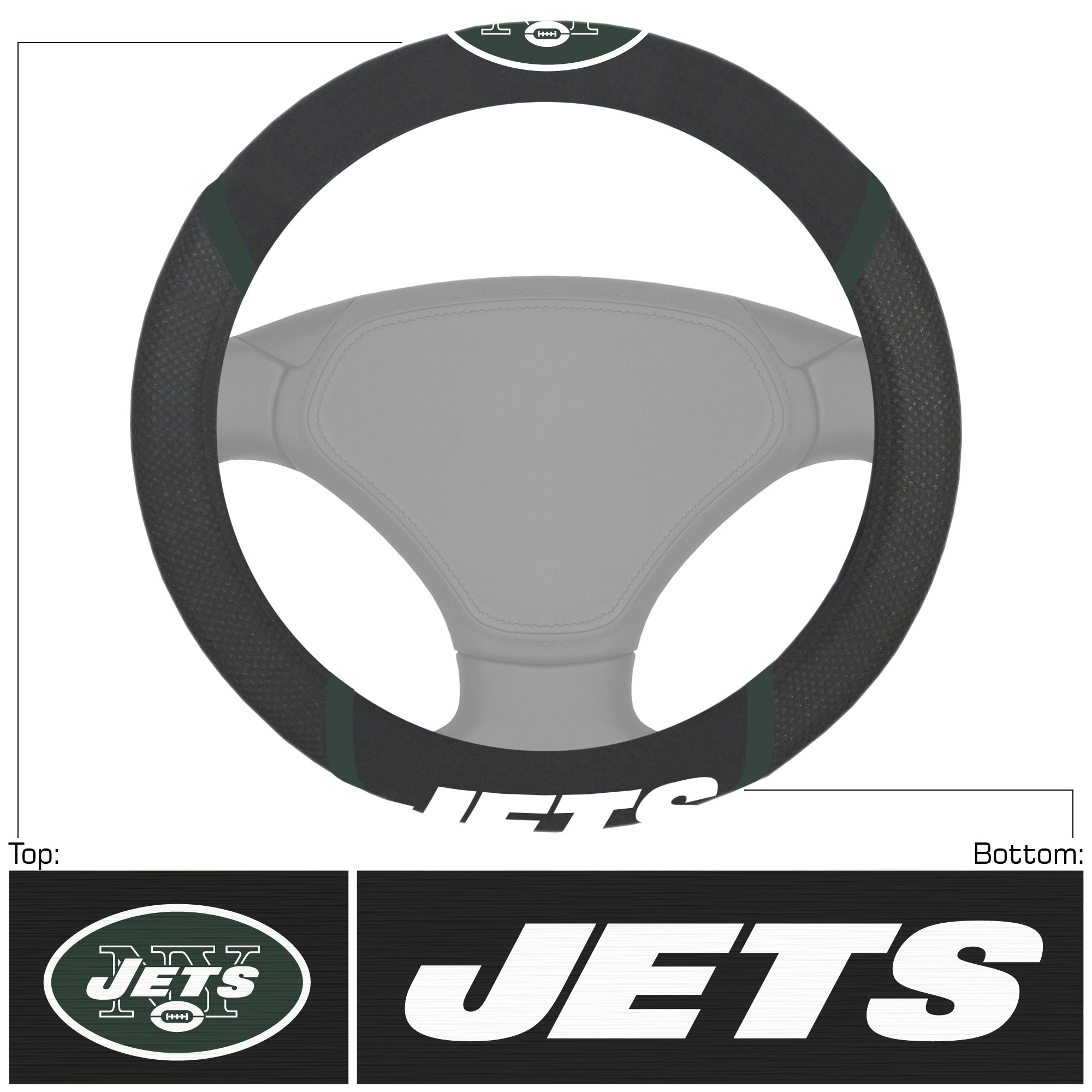 New York Jets Logo & Wordmark Steering Wheel Cover - No Size