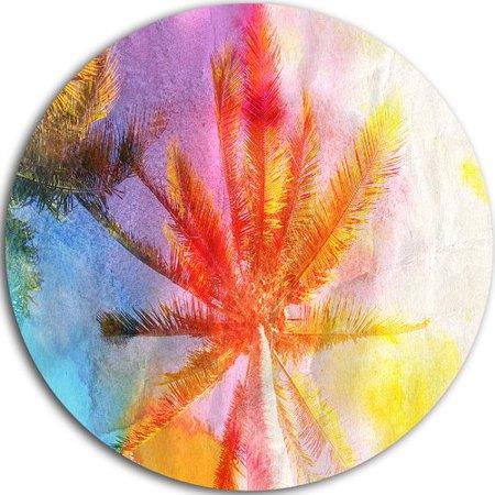 Design Art 'Reflective Retro Palm Trees' Painting Print on Metal