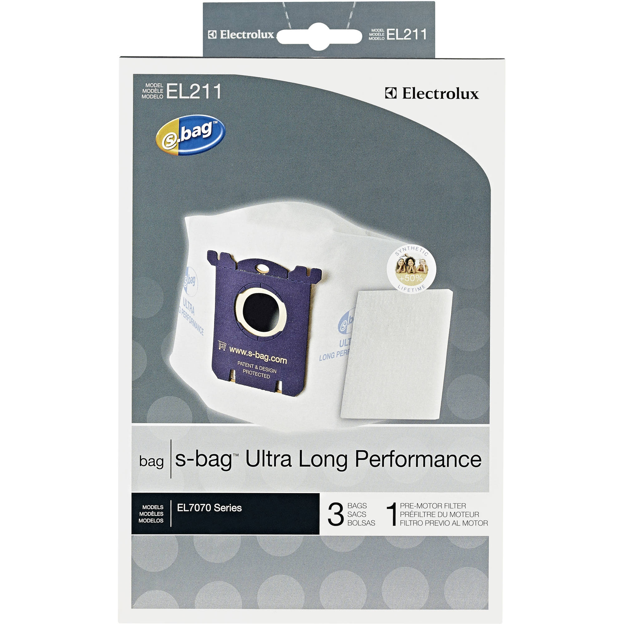 Electrolux S-Bag Ultra Longer Performance Synthetic Vacuum Bags, Pack of 3 with 1 Filter