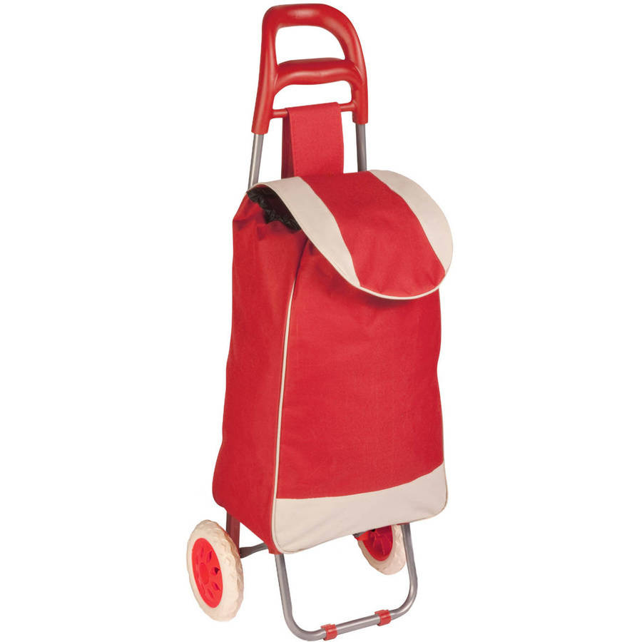 Honey Can Do Fabric Bag Rolling Cart with Ergonomic Grip Handle, Red/Beige