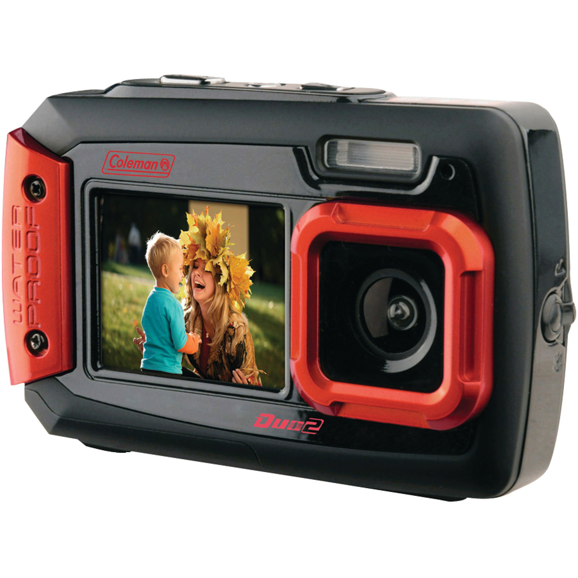 Coleman 2V9WP Duo2 Dual-Screen Waterproof 20MP Digital Camera, Red