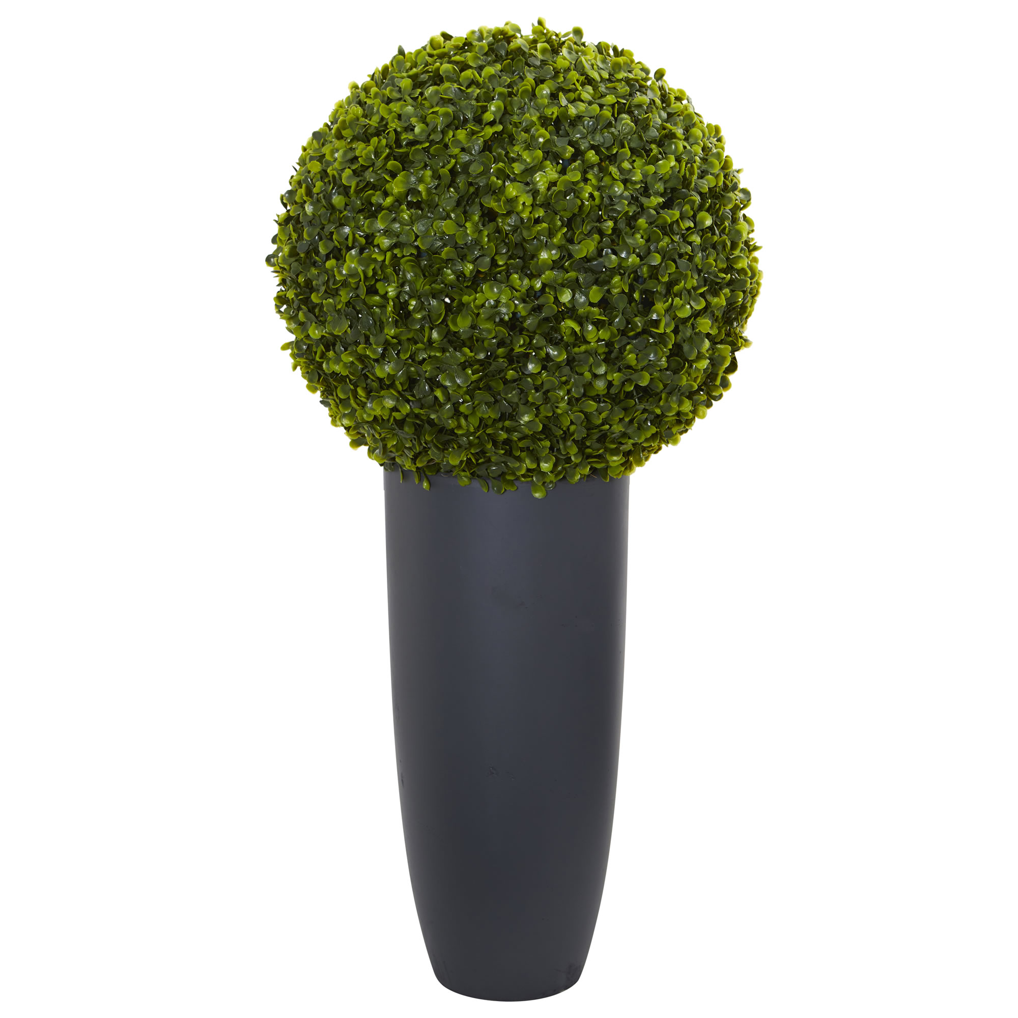 Nearly Natural 30 in. Boxwood Artificial Topiary Plant in Gray Cylinder Planter (Indoor/Outdoor)