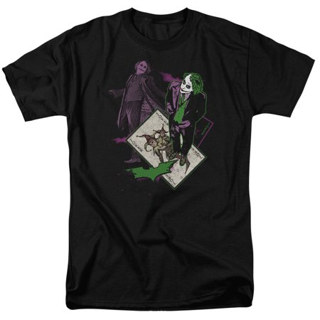 dark knight movie joker heath ledger with wild card adult t-shirt
