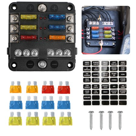 6-circuit blade fuse block, 6-way fuse box block holder durable protection  cover sticker lable for automotive car boat marine suv bus subway -  walmart com