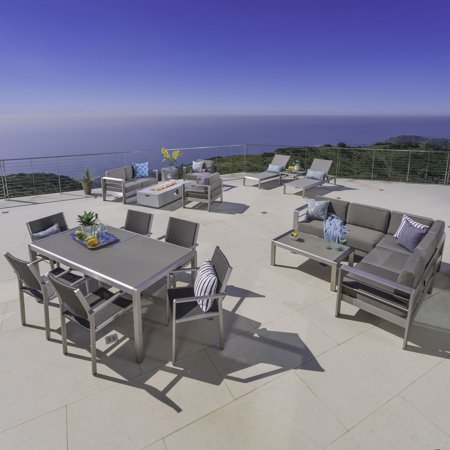 Image of Miller Outdoor Sofa and Chat Sets with a Glass Top Dining Set, Lounges, and a Light Grey Firepit, Khaki, Silver