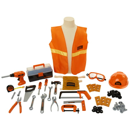 Black & Decker Junior Carpenter Tool Set with 50 tools and accessories including Tool Belt and Safety Vest