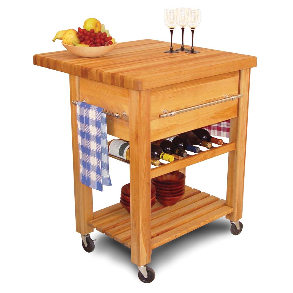 Baby Grand Workcenter w Drop Leaf, Wine Rack & Lower Shelf