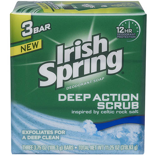 Irish Spring Deep Action Scrub Deodorant Bar Soap, 4 oz, 3 ct