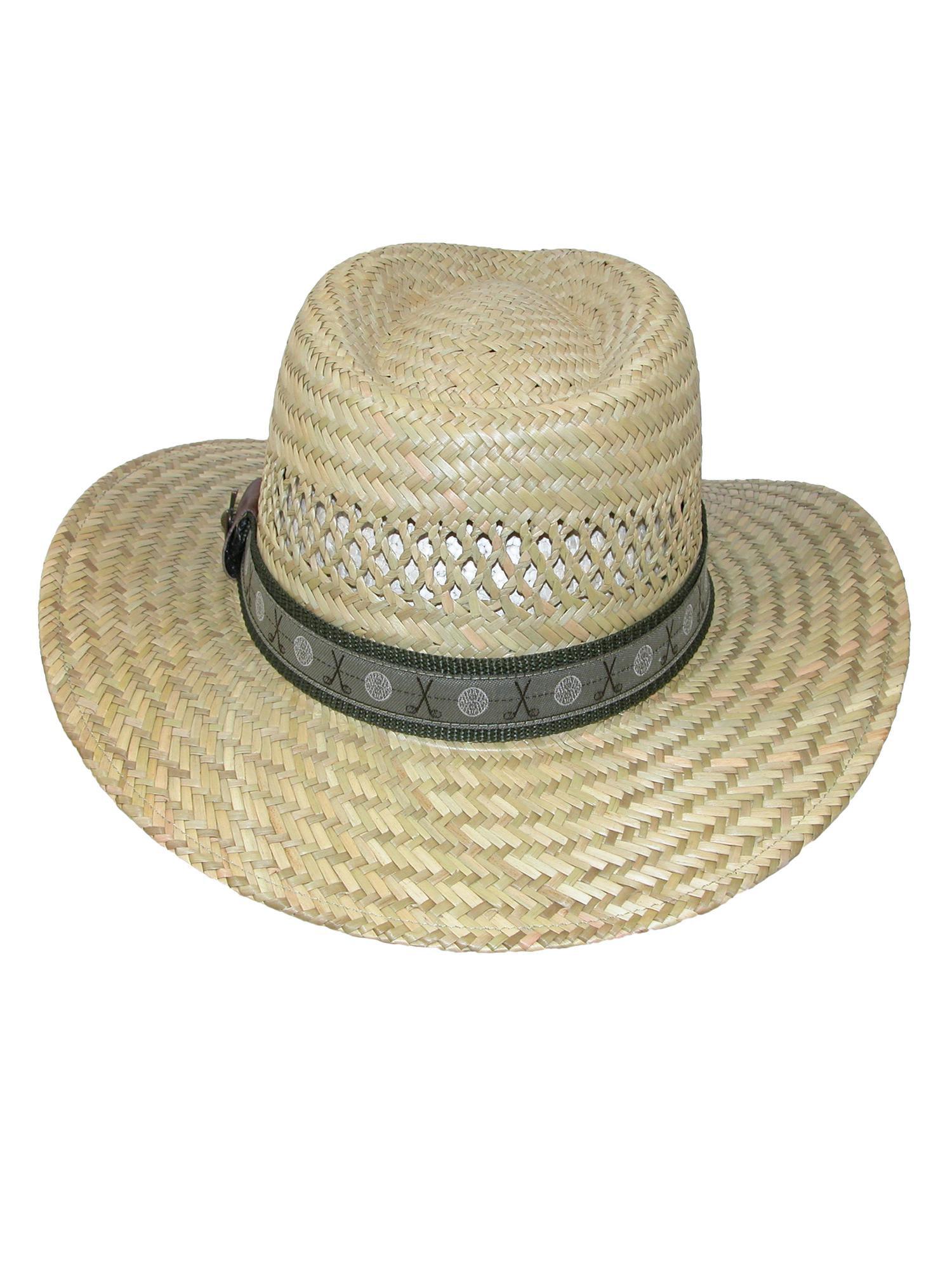 51da720f165f1 Scala Classico Men s Rush Straw Safari Hat with Golf Club Pin and Hatband