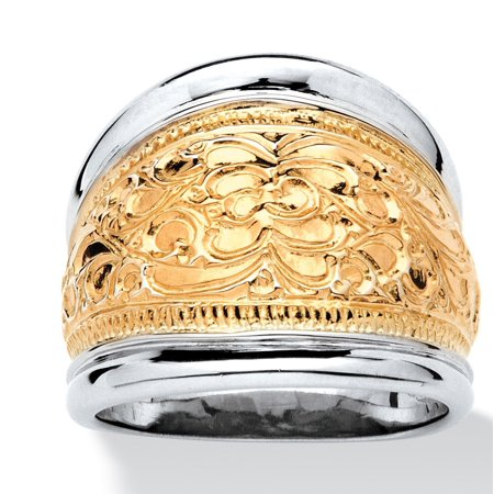 - 14k Yellow Gold-Plated Sterling Silver Two-Tone Scroll Motif Cigar Band Ring