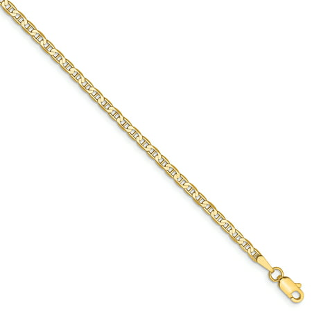 Indian Gold Jewelry - 14k Yellow Gold 2.4mm Flat Link Anchor Necklace Chain Pendant Charm Fine Jewelry For Women Gift Set