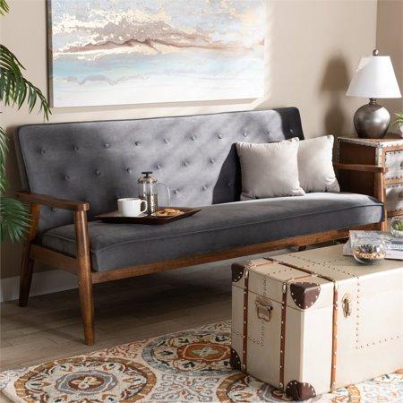 Baxton Studio Sorrento Grey Velvet Upholstered Walnut Wood 3-seater Sofa - image 6 of 9