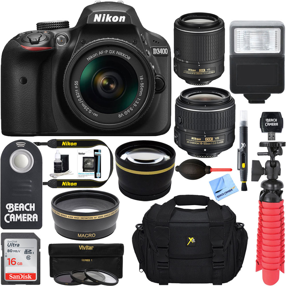 Nikon D3400 24.2MP DSLR Camera w/ AF-P 18-55 VR & AF-S 55-200mm VR II Dual Lens Accessory Bundle - (Certified Refurbished) (Black)
