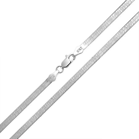 Thin Flat 925 Sterling Silver Snake Flexible Herringbone Chain Necklace For Women Made In Italy 16 18 20 24 Inch