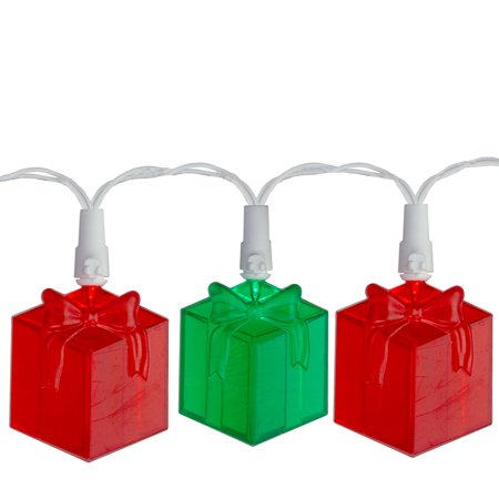 Set of 20 Red and Green LED Present Novelty Christmas Lights - White Wire ()