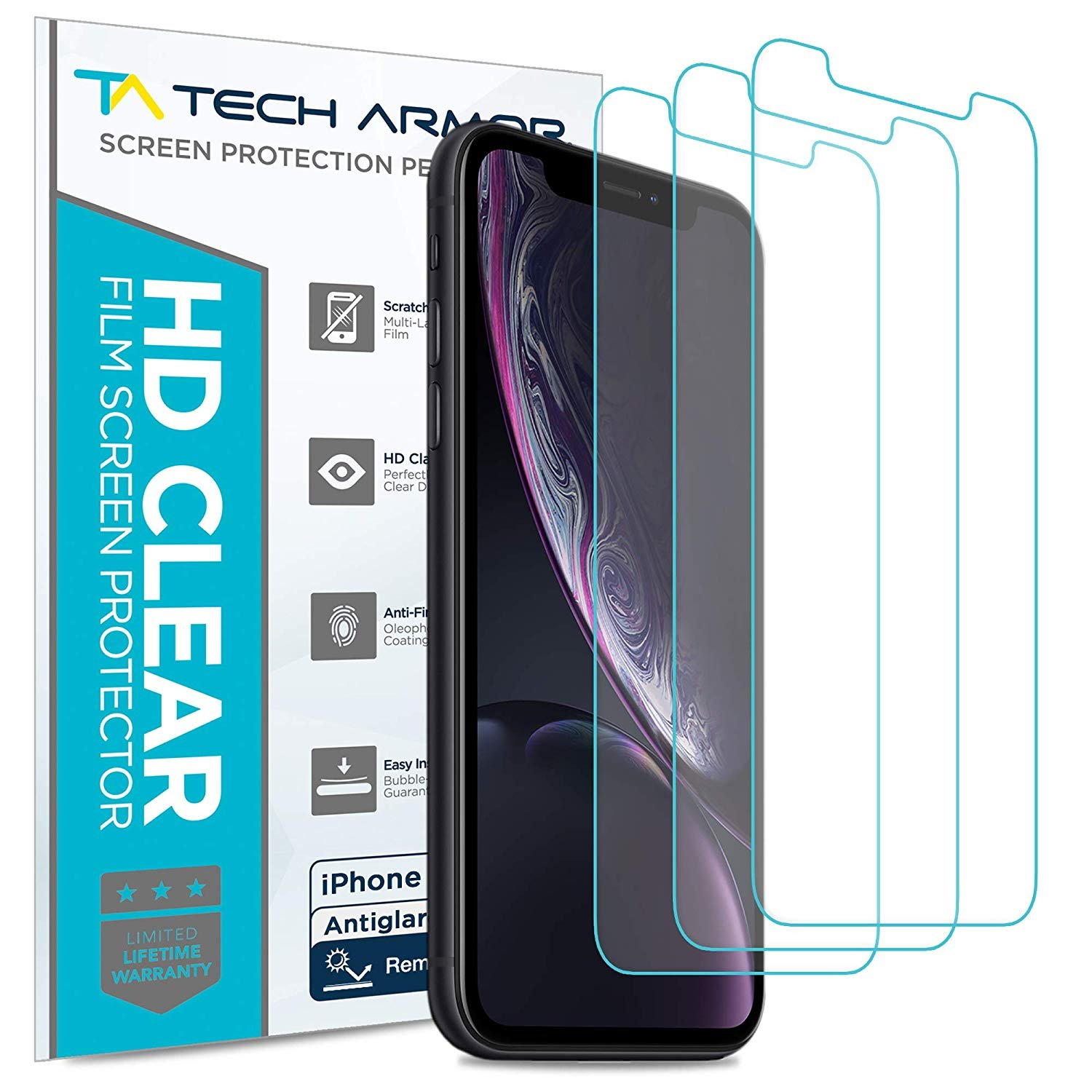 Tech Armor Apple iPhone Xr Matte Anti-Glare/Anti-Fingerprint Film Screen Protector [3-Pack] Case-Friendly Tempered Glass, Haptic Touch Accurate Designed for New 2018 Apple iPhone Xr