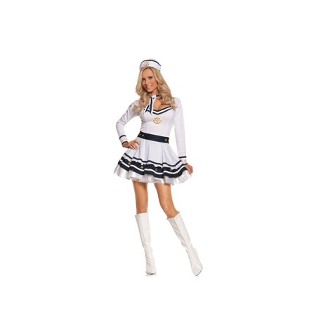 EM-9583 Anchors Away 4 pc costume White/Navy / - Wendy Nightgown Costume