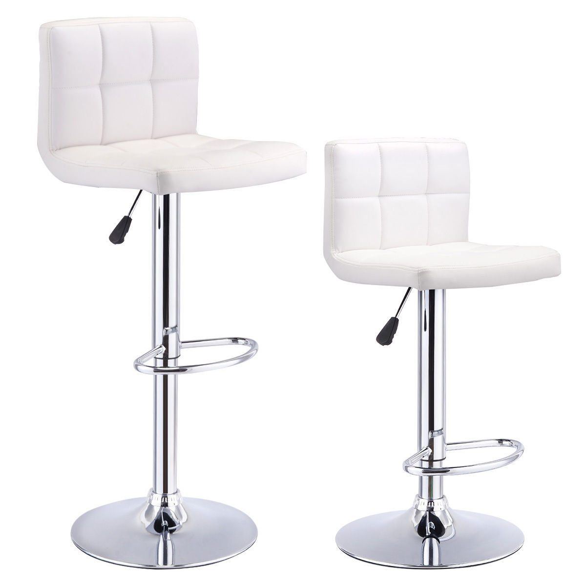 Costway Set Of 2 Bar Stools PU Leather Adjustable Barstool Swivel Pub Chairs White  sc 1 st  Walmart & Adjustable Stools islam-shia.org