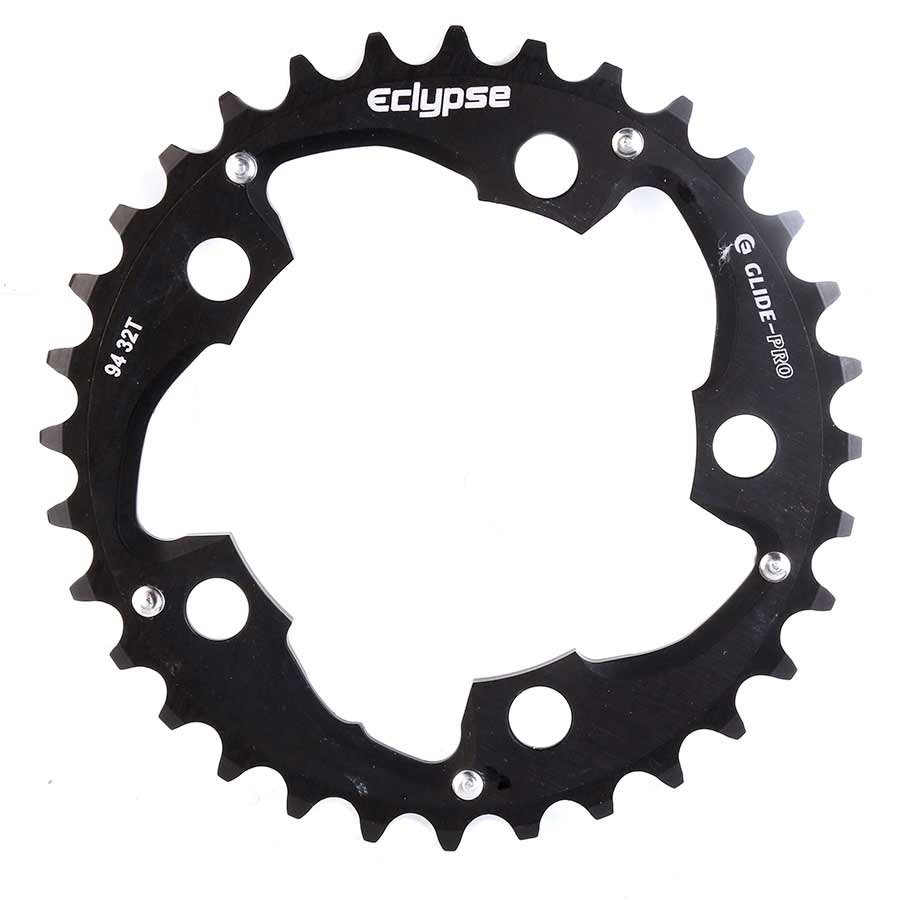 Eclypse, Glide-Pro, 32T, 8-10sp, BCD: 94mm, 5 Bolt Middle Chainring, Alloy, Black